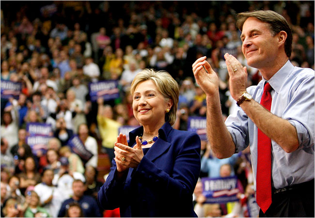 Evan Bayh and Hillary Clinton