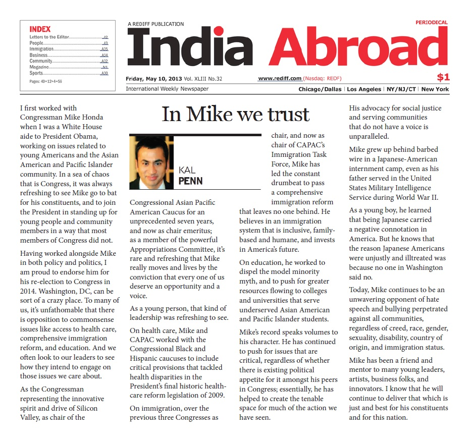 Kal Penn Endorsement Op-Ed in India Abroad - May 10, 2013